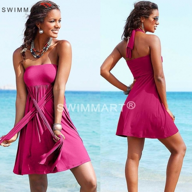 Multi - wears Removable Padding Women's Beach Convertible Dress