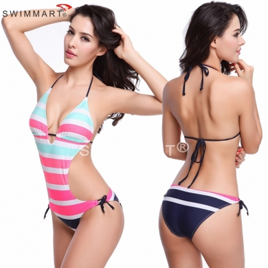 Nylon Lycra Composition Excellent Quality Sexy Women Strappy Bandage Push up Striped One Piece swimw...