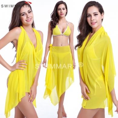 10 in 1 Multi - wears Women's Transparent Stretch Mesh magic Beach dress Cover ups