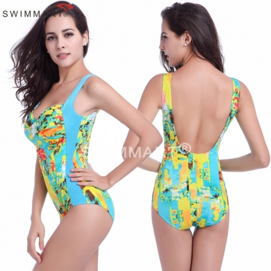 Double - shoulders Twist Bandeau Beachwear Large Women Big girls Plus size Swimming suit