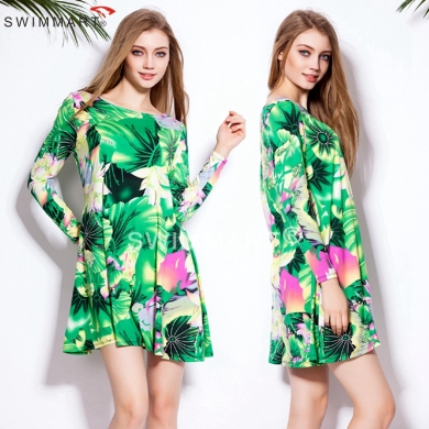 All Seasons Leisure Loose Slim Fit Pattern 2015 O neck Women Cotton T shirt dress S.M.L.XL.XXL.XXXL