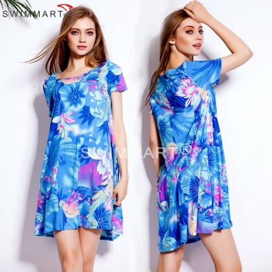 2015 Slim Fit Pattern Big Large Women Plus size XXXL Cotton Casual Loose Women T shirt dress