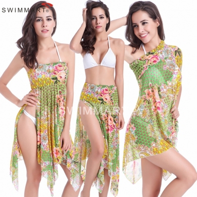 3 Wear Options Multi - wears Floral Transparent Strech Mesh Beach dress Cover ups