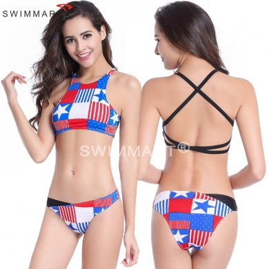 Tank Top Removable Push up padding Back Cross - straps exotic Bikini sets