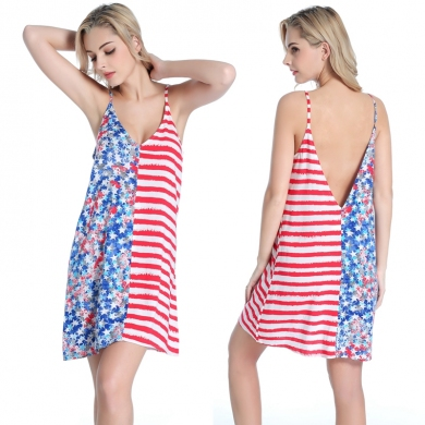 Very Popular USA Flag Print Women's Wild Sexy 100% Viscose dress Beach Cover Up