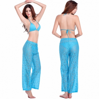Loose Style Floral Pattern Adjustable tie Sexy transparent Lace Beachwear Long Pant