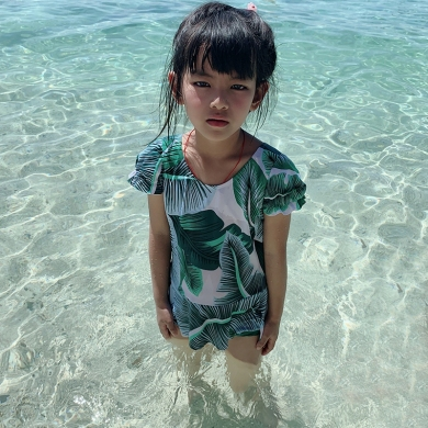 2019 Toddler 8-12T Kids Girl Swimsuit One Piece Bathing Suits Child Swimwear Wrap Leaves Print Child...
