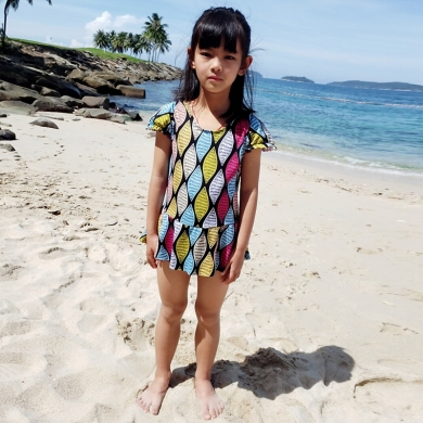 2018 Kids Girl Swimwear 8-12T Daughter Wrap Beachwear Children Swimsuit Toddler Teenage One Piece Ba...