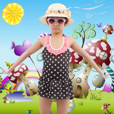 6-10T Kids Swimwear Dot Print mini Flounce Cute Girl Beachwear Children Swimming Bath Suits Toddler ...