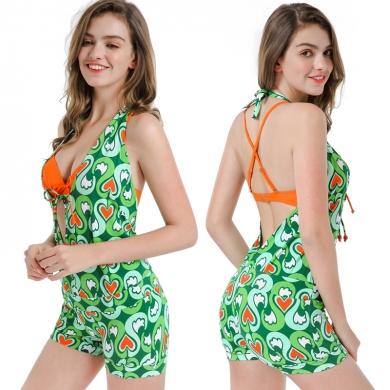 Cup Underwired Swimwear Women 3PCS Bikini Set Romper Cover Ups Bathing Suits Back Cross String Sexy ...