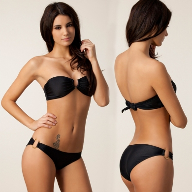 Bandeau Top U-Ringed Both Top and Bottom Fully lined Push up Vintage Bikini